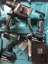 Perforateur Sans Fil Et Visseuse Sans Fil Makita 18v Chargeur Et Deux Batteries