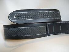 LEATHER BLACK WITH A BASKETWEAVE EMBOSS BASS, ACOUSTIC GUITAR STRAP