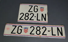Vehicle registration Plate Set ZG Croatia Europe ZAGREB License Sign Automobile