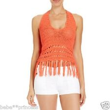 NWT bebe coral halter crochet fringe sweater low neck stretchy top M medium 6 8