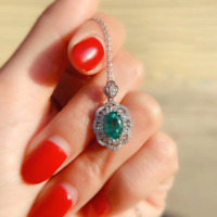 """Vintage 5.00 CT Emerald Pendant Necklace With 18"""" Chain In 14K White Gold Over"""