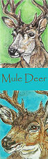 Mule Deer mulie buck Art Bookmark PRINT Loberg Wild animal Wildlife nature EBSQ