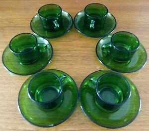 Vereco Vintage Green Class Expresso Set (6 Cups/6 Saucers)