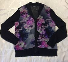 Magaschoni Floral Navy Silk Sweater Cardigan Size L NWD $595