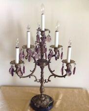 Vintage Electric Candelabra Hollywood Regency Mid-Century Brass Marble Amethyst