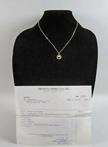 Signed Mikimoto 18k Y.Gold, Diamond and 6mm Pearl Pendant w/Original Receipt