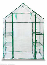 NEU Spaziergang in Glashaus Mit Doppel Regale Pvc Plastik Abdeckung Außen Garten...
