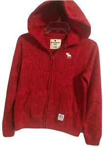 ABERCROMBIE Kids Sweat  full Zip Up Jacket Hoodie Red Boys  Size 11/12