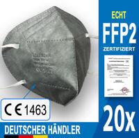 20 x FFP2 Maske GRAU und SCHWARZ ✅ CE1463 zertifiziert & in Deutschland geprüft