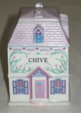 "1989 The Lenox Spice Village Victorian House 3"" Jar Fine Porcelain ~ Chive"