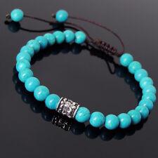 Men Women Bracelet Braided 6mm Turquoise Sterling Silver Fleur de Lis 778
