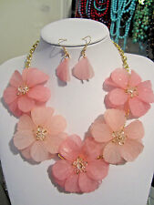 Pink Acrylic Flower Floral Clear Faceted Glass Bead Necklace earring Set