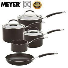 Meyer Aluminium Induction Non-Stick Black 5 Piece Saucepan Pan Set Oven Safe