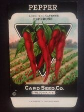 1930-40s Litho Antique Vintage Seed Packet Pepper Cayenne Card Seed Co Pack Mint