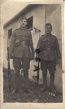 WW1 soldier 2x Privates Royal Scots in leather marching order beside barrack hut