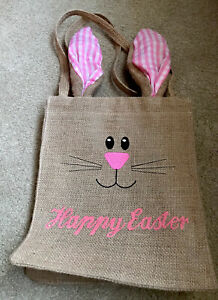 Easter Bunny With Ears Jute Burlap Tote Gift Bag Medium Size