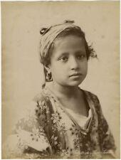 Photo Albuminé Algérie Petite Fille Bou Saada Vers 1880