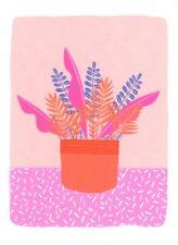 FINE ART GREETING CARD FLOWERS Pink Pot BIRTHDAY Blank RISOGRAPH MELISSA DONNE
