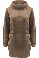 Plus Size Ladies Womens Baggy Jumper Long Sleeve Cowl Neck Chunky Knit Dress Top