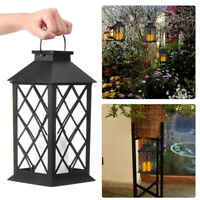 Solar Powered Garden LED Light Candle Lanterns Outdoor Hanging Lamp Yard