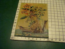 """vintage PAINT BY NUMBER - EAST ASIAN LADY, TOPLESS, BOAT, FLOWERS early 9x12"""""""