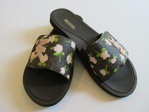 Michael Kors Slide Sandal Soft Faux Leather Brown Multi Mini Rose Size 8 New