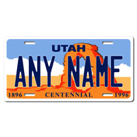 US Metal License Plate - Utah - Customise your own plate