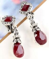 Silver Long Dangle Red Stone Clip On Earrings Diamante Crystal Non Pierce UK E99