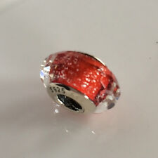 S925 Solid Sterling Silver European Red Murano Glass Charm bead 4#