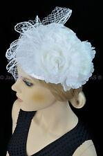 Wedding Melbourne Cup Race Feather Fascinator Clip Headband Hat Hatinator WHITE