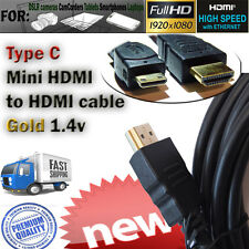 "3m Mini HDMI ""C"" to HDMI Cable v1.4 Gold for GoPro Hero, GoPro Hero2 Camera NEW!"