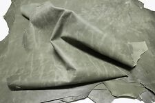 Italian strong Goatskin leather skins hides VINTAGE DISTRESSED GREEN ARMY 5sqf