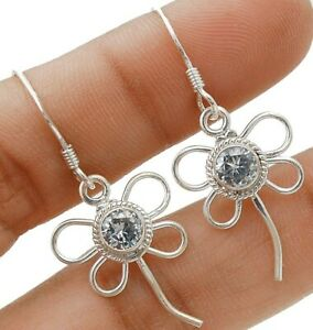 """White Topaz 925 Solid Sterling Silver Earrings Jewelry 1 1/2"""" Long K1-7"""
