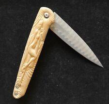 🔪 Couteau  sculpté damas VG10👉 unique !!1/2 claire🌹femme 🌳 bambou
