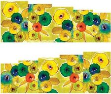 Nail Art Water Decals Stickers Transfers Yellow Green Orange Flowers (A-65)