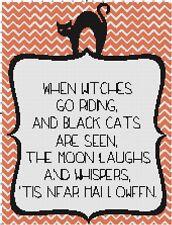 When Witches Go Riding Handmade Halloween Cross-Stitch Pattern