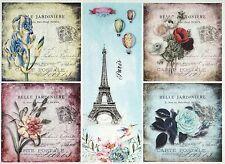 Carta di riso per Decoupage Decopatch Scrapbook Craft sheet Vintage Fiore Paris