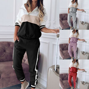 Womens Lounge Wear Sports Suit Sweatshirt Jogging Running Pants Set Tracksuit