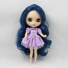 """12"""" Neo Blythe Matte Face Dark Blue Hair from Factory Joint Body Nude Doll 73012"""