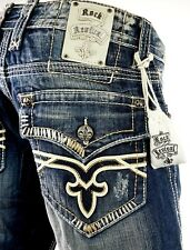 """$220 Mens Rock Revival Jeans """"Edward"""" Leather Inserts Straight Leg 32 X 32.5"""