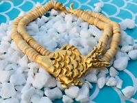 Vintage Chunky Goldtone Fish & Wooden Puka Shell Choker/Necklace, Dressy/Casual