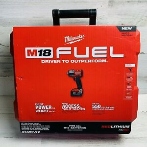 "Milwaukee 2962P-22 M18 FUEL 1/2"" Mid-Torque Impact w/Pin Detent + 2x 5Ah New"