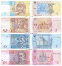 Ucraina 1 + 2 + 5 + 10 hryven Set di 4 BANCONOTE 4 PZ UNC