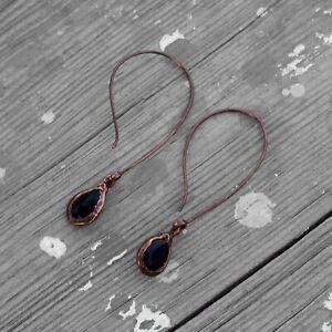 Black Onyx Hydro Gemstone Antique Style Women Fashion Hanging Earrings Jewelry