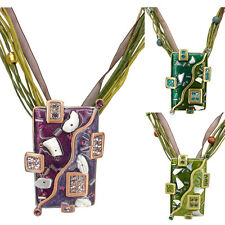 Rectangle Art Pendant Necklace Jewelry Austrian Crystal Purple Green Handmade