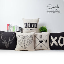 "New Black White Love Heart Geometric Linen Pillow Case Car Cushion Cover 18""x18"""
