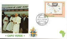787-  FDC VATICAN VISITE PAPE JEAN PAUL II  AU  CAP  VERT
