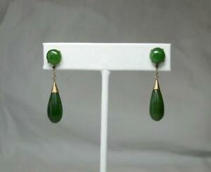Jade 14K Gold Earrings Retro Antique Estate Natural jade