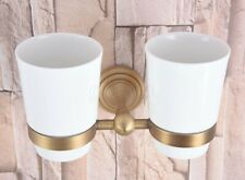Wall Mounted Antique Brass Bathroom Toothbrush Holder with Two Ceramic Cups
