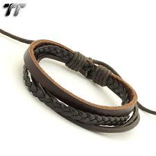 STYLISH T&T BROWN Leather Bracelet Wristband NEW LB117
